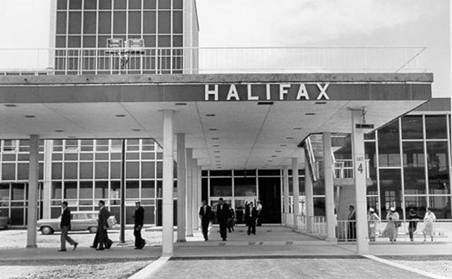 1960's photo of the entrance to the terminal building