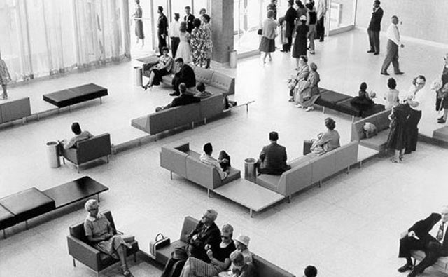 1960's photo of the main lobby in the terminal building