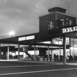 1960's photo of the entrance to the terminal building at night thumbnail